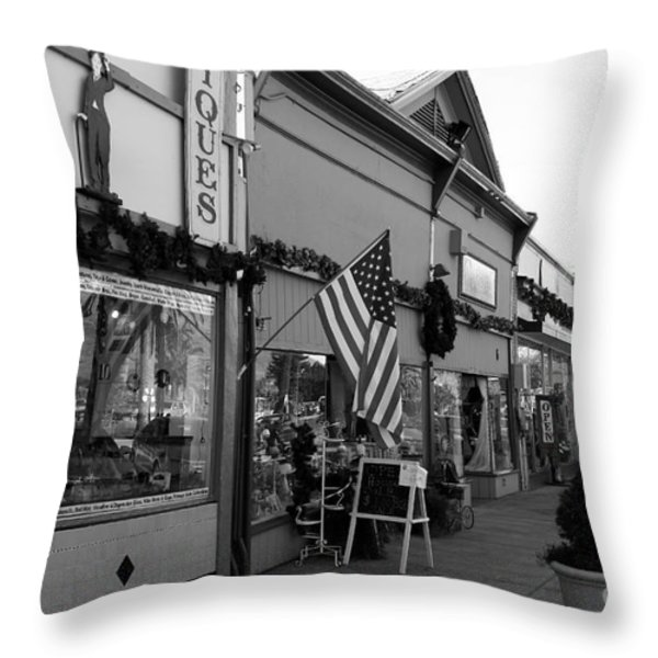 Historic Niles District in California Near Fremont . Main Street . Niles Boulevard . 7D10701 . bw Throw Pillow by Wingsdomain Art and Photography