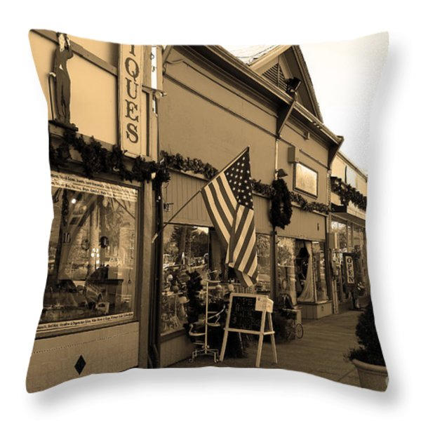 Historic Niles District in California Near Fremont . Main Street . Niles Boulevard . 7D10701 . sepia Throw Pillow by Wingsdomain Art and Photography