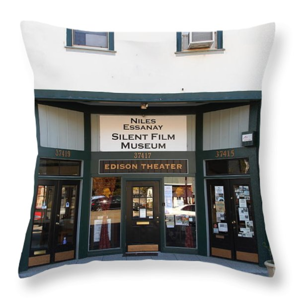 Historic Niles District in California Near Fremont . Niles Essanay Silent Film Museum.Edison Theater Throw Pillow by Wingsdomain Art and Photography