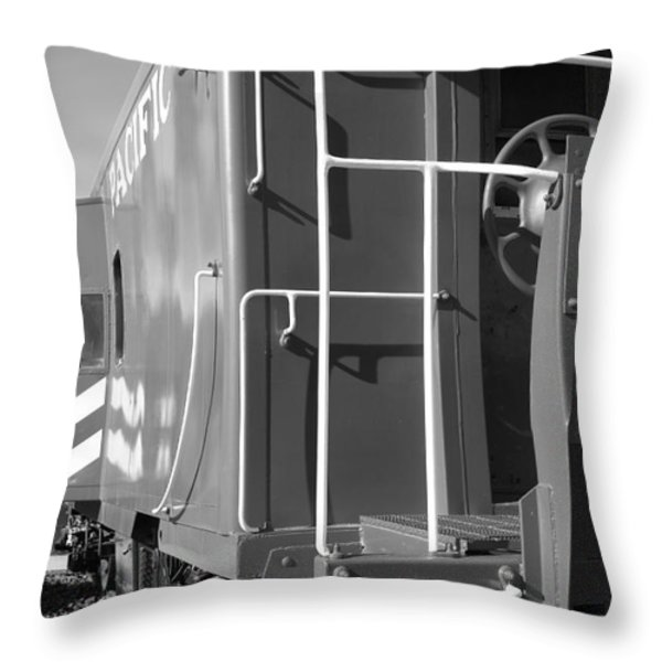 Historic Niles District in California Near Fremont . Western Pacific Caboose Train . 7D10622 . bw Throw Pillow by Wingsdomain Art and Photography