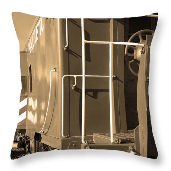 Historic Niles District In California Near Fremont . Western Pacific Caboose Train . 7d10622 . Sepia Throw Pillow by Wingsdomain Art and Photography