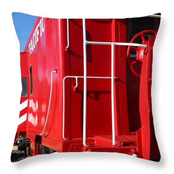 Historic Niles District in California Near Fremont . Western Pacific Caboose Train . 7D10622 Throw Pillow by Wingsdomain Art and Photography
