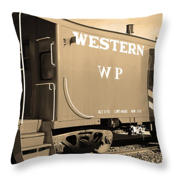 Historic Niles District in California Near Fremont . Western Pacific Caboose Train . 7D10627 . sepia Throw Pillow by Wingsdomain Art and Photography