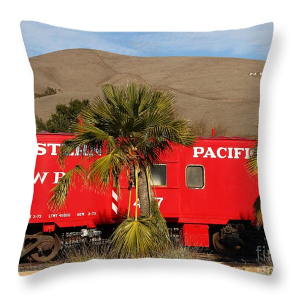 Historic Niles District in California Near Fremont . Western Pacific Caboose Train . 7D10718 Throw Pillow by Wingsdomain Art and Photography