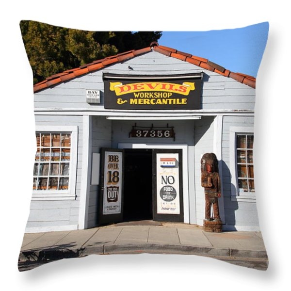 Historic Niles District In California.motorized Bike Outside Devils Workshop And Mercantile.7d12727 Throw Pillow by Wingsdomain Art and Photography