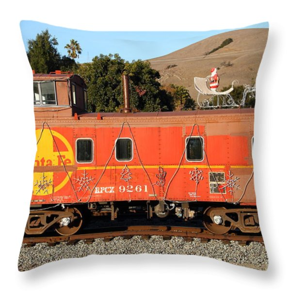 Historic Niles Trains in California . Old Sante Fe Caboose . 7D10832 Throw Pillow by Wingsdomain Art and Photography