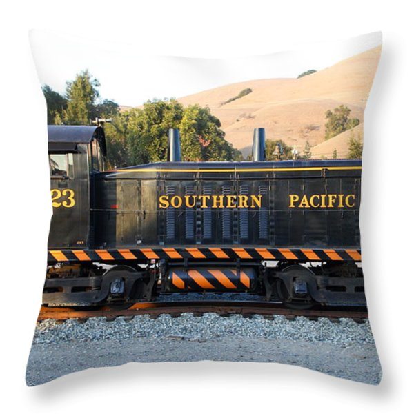 Historic Niles Trains in California . Old Southern Pacific Locomotive . 7D10867 Throw Pillow by Wingsdomain Art and Photography