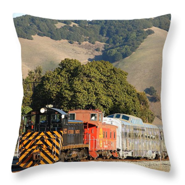 Historic Niles Trains in California . Old Southern Pacific Locomotive and Sante Fe Caboose . 7D10818 Throw Pillow by Wingsdomain Art and Photography