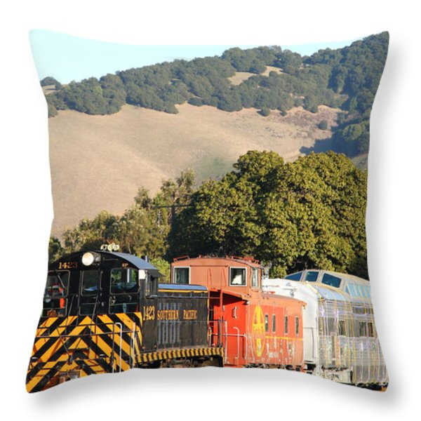 Historic Niles Trains in California . Old Southern Pacific Locomotive and Sante Fe Caboose . 7D10819 Throw Pillow by Wingsdomain Art and Photography
