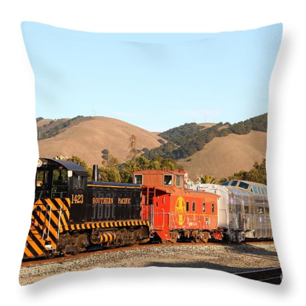 Historic Niles Trains in California . Old Southern Pacific Locomotive and Sante Fe Caboose . 7D10822 Throw Pillow by Wingsdomain Art and Photography