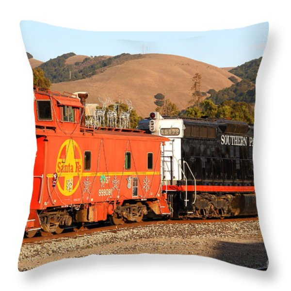 Historic Niles Trains in California . Old Southern Pacific Locomotive and Sante Fe Caboose . 7D10843 Throw Pillow by Wingsdomain Art and Photography