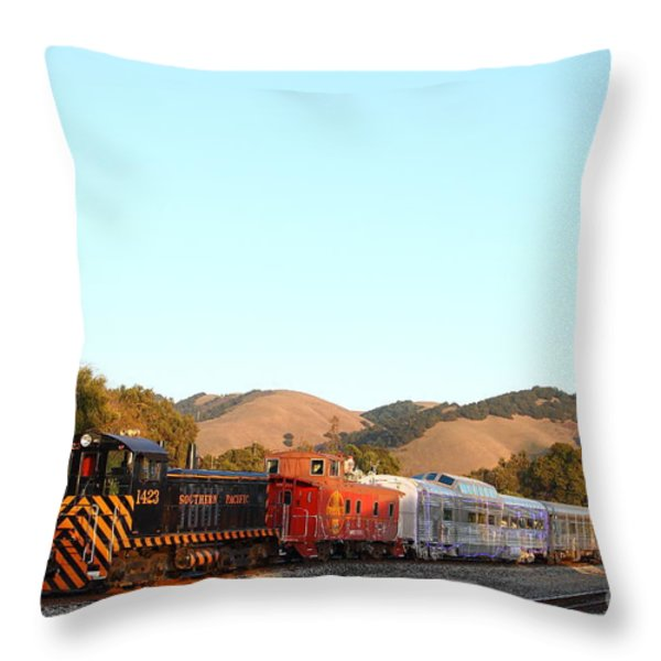 Historic Niles Trains in California . Old Southern Pacific Locomotive and Sante Fe Caboose . 7D10869 Throw Pillow by Wingsdomain Art and Photography