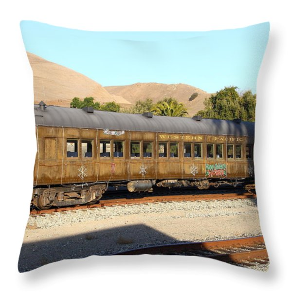 Historic Niles Trains in California . Old Western Pacific Passenger Train . 7D10836 Throw Pillow by Wingsdomain Art and Photography