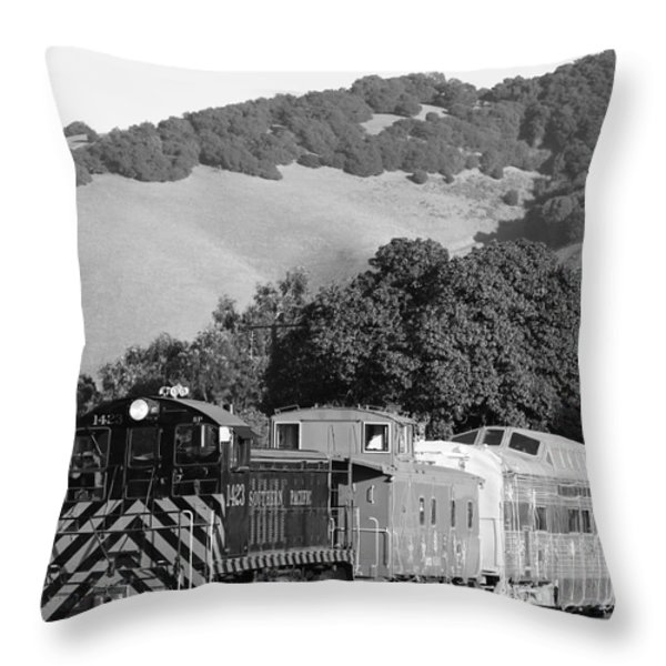 Historic Niles Trains In California . Southern Pacific Locomotive And Sante Fe Caboose.7d10819.bw Throw Pillow by Wingsdomain Art and Photography