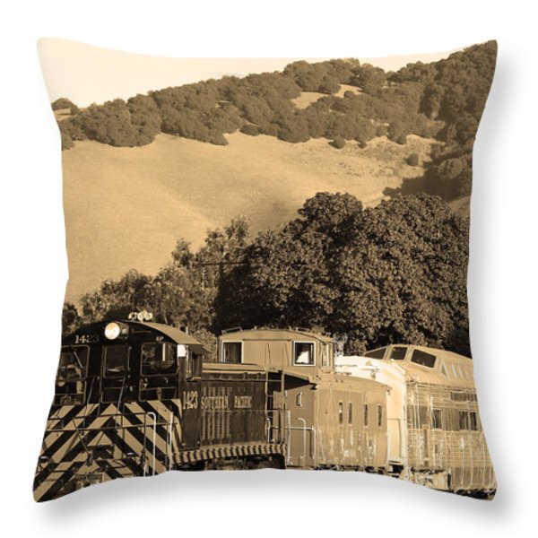 Historic Niles Trains In California.southern Pacific Locomotive And Sante Fe Caboose.7d10819.sepia Throw Pillow by Wingsdomain Art and Photography