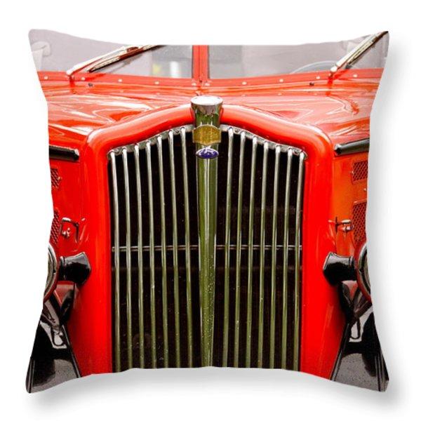 Historic Red Jammer Bus Glacier National Park Throw Pillow by Karon Melillo DeVega