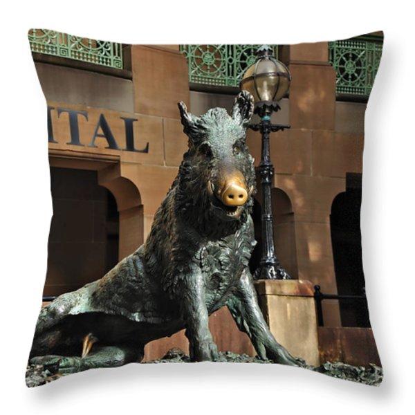 Historic Sydney Hospital - Florentine Boar Throw Pillow by Kaye Menner