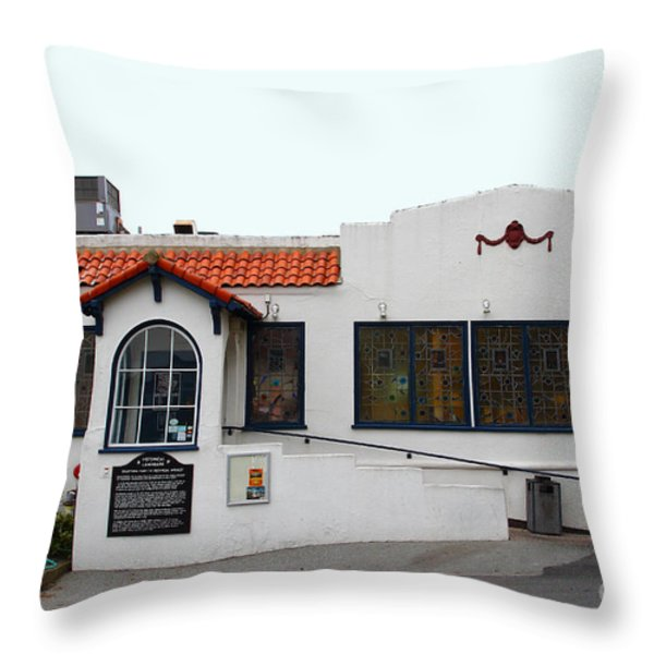 Historical Moss Beach Distillery At Half Moon Bay . 7d8172 Throw Pillow by Wingsdomain Art and Photography