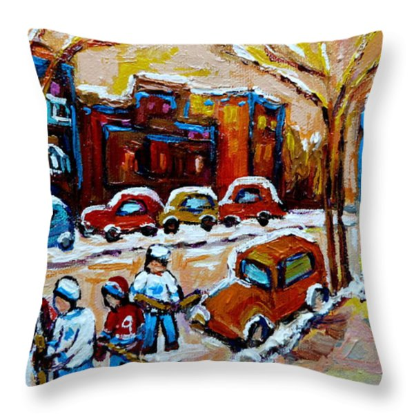 Hockey Art Montreal Staircases In Winter Throw Pillow by Carole Spandau