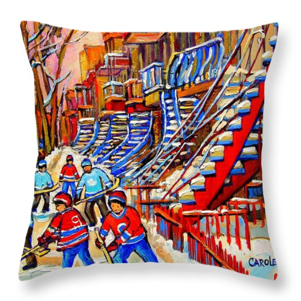 Hockey Game Near The Red Staircase Throw Pillow by CAROLE SPANDAU