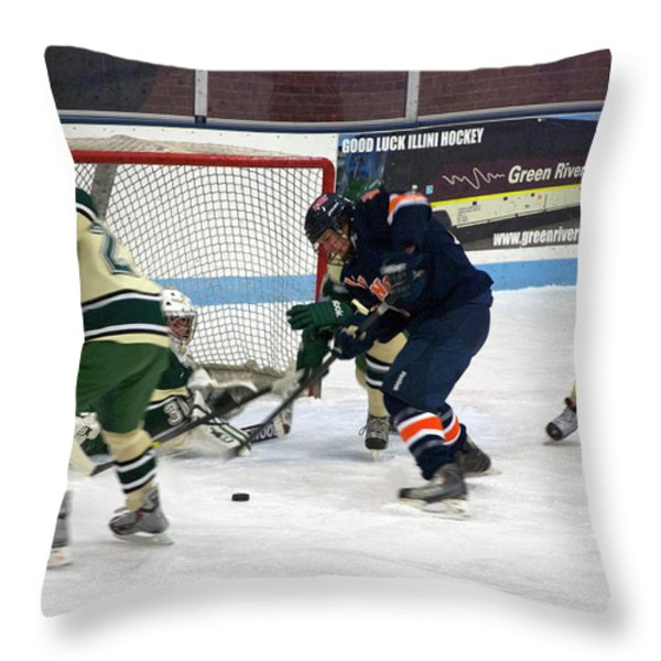 Hockey One On Four Throw Pillow by Thomas Woolworth