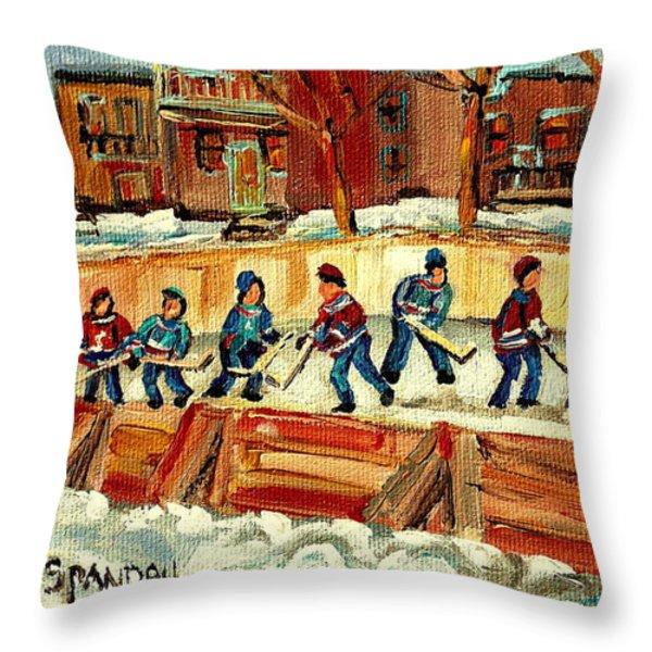 HOCKEY RINKS IN MONTREAL Throw Pillow by CAROLE SPANDAU