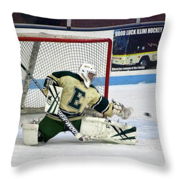 Hockey The Big Reach Throw Pillow by Thomas Woolworth