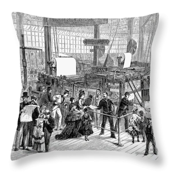 Hoe Web Printing Press Throw Pillow by Granger