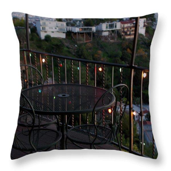 Holiday Deck at Dusk Throw Pillow by Lorraine Devon Wilke