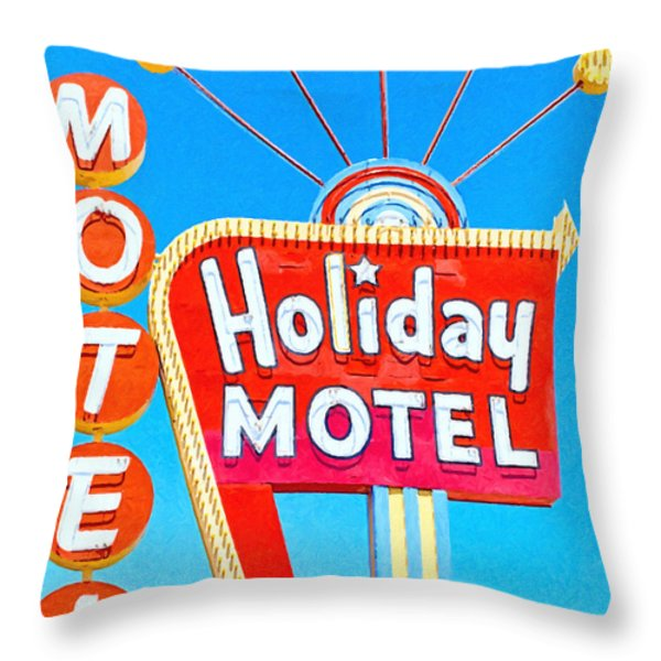 Holiday Motel Las Vegas Throw Pillow by Wingsdomain Art and Photography