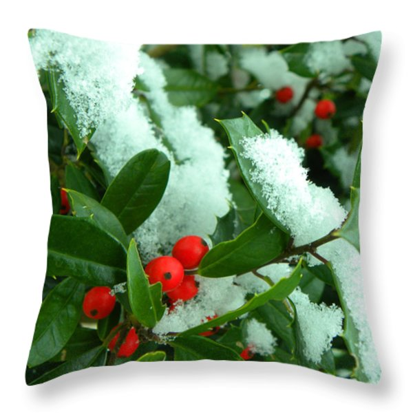 Holly In Snow Throw Pillow by Sandi OReilly