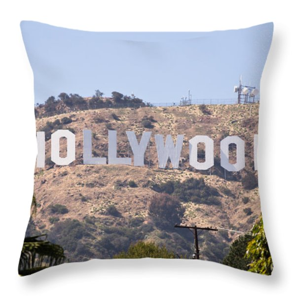 Hollywood Sign Photo Throw Pillow by Paul Velgos