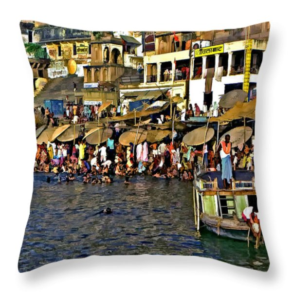 Holy Ganges Throw Pillow by Steve Harrington