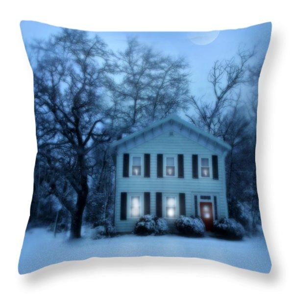 Home On A Wintery Evening Throw Pillow by Jill Battaglia