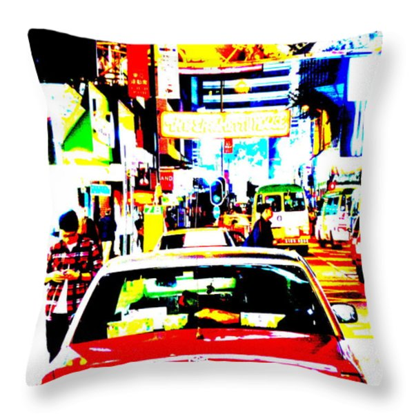 Hong Kong cabs Throw Pillow by Funkpix Photo Hunter