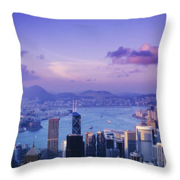 Hong Kong Harbor Throw Pillow by Gloria & Richard Maschmeyer - Printscapes