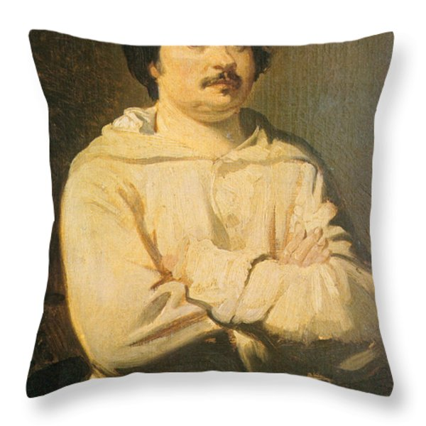 Honore De Balkzac, French Author Throw Pillow by Photo Researchers