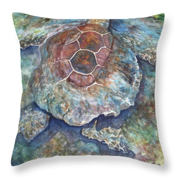 Honu Ill Throw Pillow by Kerri Ligatich