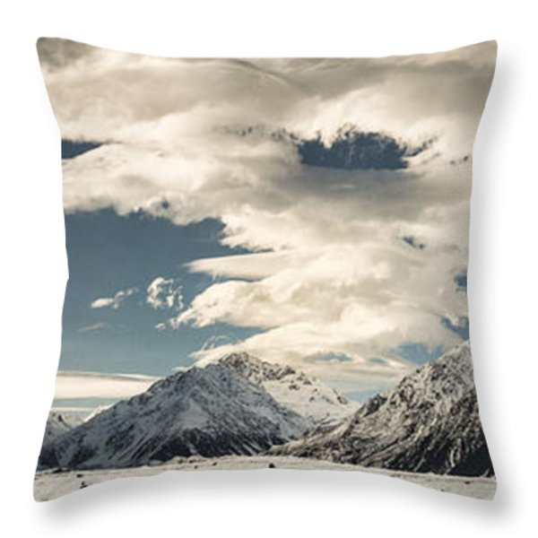 Hooker River In The Valley At Tasman Throw Pillow by Colin Monteath