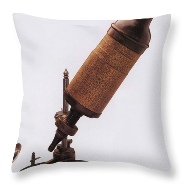 Hookes Microscope Throw Pillow by Photo Researchers