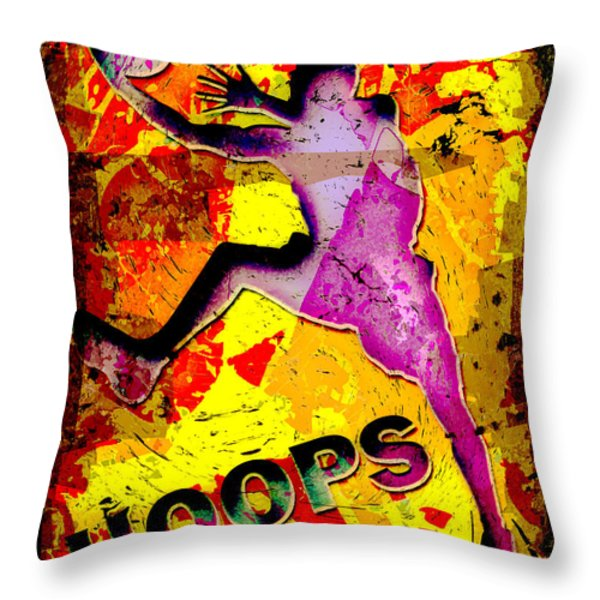Hoops Basketball Player Abstract Throw Pillow by David G Paul