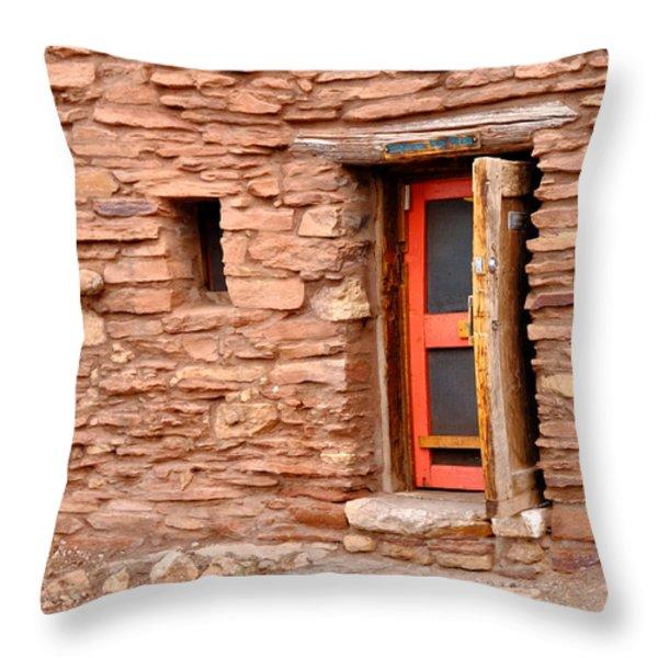 Hopi House Door Throw Pillow by Julie Niemela