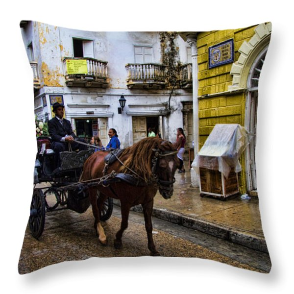 Horse and Buggy in old Cartagena Colombia Throw Pillow by David Smith