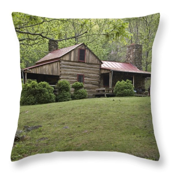 Horse Grazing In The Yard Of A Mountain Throw Pillow by Greg Dale