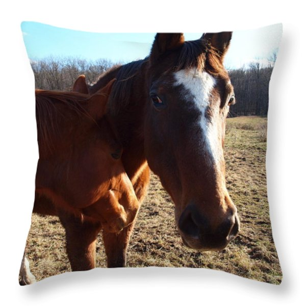 horse neck Throw Pillow by Robert Margetts