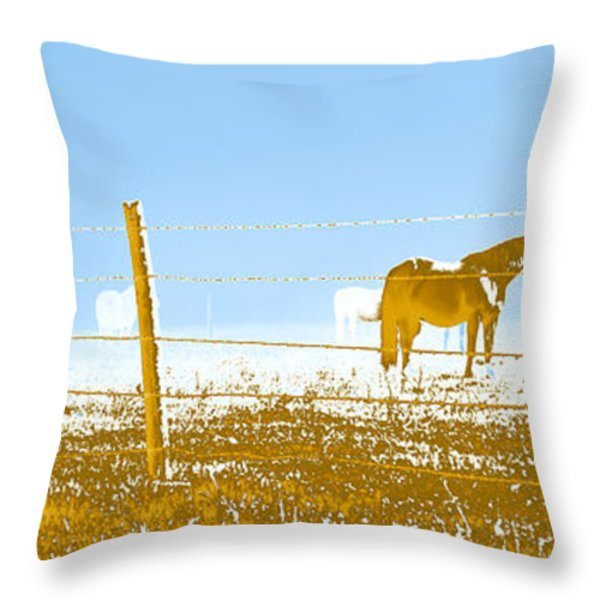 Horse Pasture Revblue Throw Pillow by Paulette B Wright