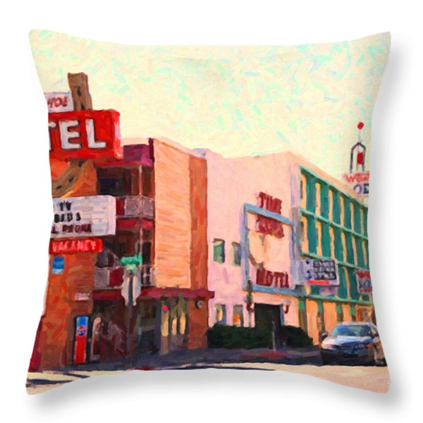 Horse Shoe Motel Throw Pillow by Wingsdomain Art and Photography