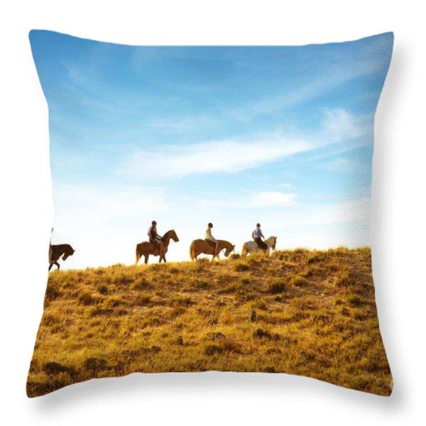 horseback riding Throw Pillow by Carlos Caetano