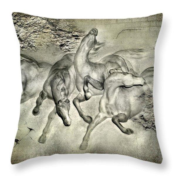 Horses Throw Pillow by Svetlana Sewell