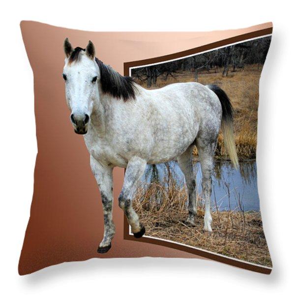 Horsing Around Throw Pillow by Shane Bechler